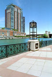 Chicago River and Canal Illinois USA. Canal threads its way between luxury condos and apartments in downtown Chicago stock image