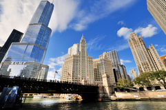 Chicago river and Chicago famous buildings. City view and famous buildings along Chicago river, in Chicago at North Michigan Avenue and the Michigan Avenue Royalty Free Stock Image
