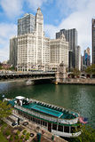 Chicago River City View. View of Chicago and Michigan ave. along the beautiful river royalty free stock images