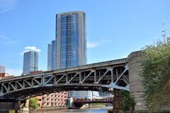 Chicago river and downtown buildings. City buildings and bridge on Chicago river, Chicago, Illinois, United States.nPhoto taken in October 6th, 2014 Stock Photo