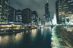 Chicago River in Downtown Stock Images