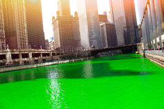 Chicago River. Through downtown Chicago on St. Patrick`s Day Stock Photo