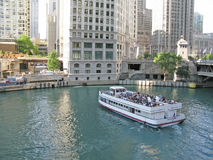 Chicago river and ferry Stock Image