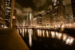 Chicago River in Gold Royalty Free Stock Image