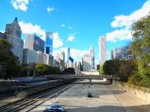 Chicago River i i stadens centrum Chicago Fotografering för Bildbyråer