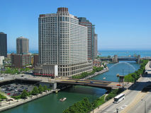 Chicago River, Looking East. A view of the Chicago River, looking East toward Lake Michigan Stock Images