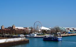 Chicago River and Navy Pier Royalty Free Stock Photography