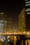 Chicago river by night Stock Images