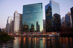 Chicago River At Night Royalty Free Stock Images