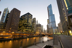 Chicago River at Night. Cityscape view at the Chicago River at night Stock Photography