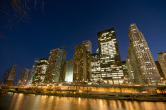 Chicago River at Night. Cityscape view at the Chicago River at night Royalty Free Stock Image
