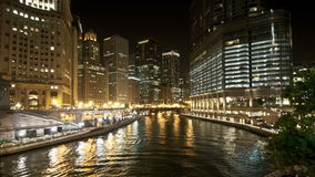 Chicago river night timelapse stock footage