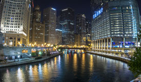 Chicago River panoramic at night Stock Image