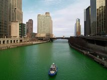 Chicago River on Saint Patric's  Day Royalty Free Stock Photography
