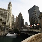 Chicago River scene. With bridge and boat in Chicago, Illinois Royalty Free Stock Photography