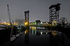 Chicago River Scene at Night Stock Photo