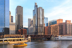 The Chicago River serves as main link between the Great Lakes an Stock Photography