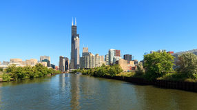 Chicago river and skyline Royalty Free Stock Photography