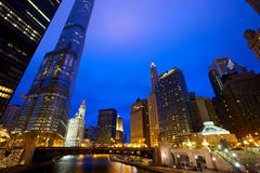 Chicago River and Skyline Royalty Free Stock Images