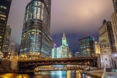 Chicago River and Skyscrapers Stock Images