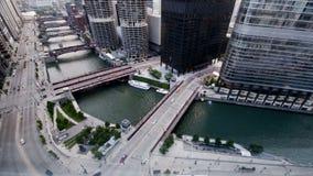 Chicago river sunrise timelapse stock video
