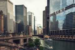 The Chicago River and Trump International Hotel. Chicago River and Trump International Hotel Royalty Free Stock Image