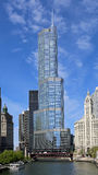 Chicago River and Trump Tower Stock Photo