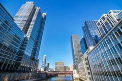 Chicago River View. View of buildings and a bridge along the Chicago River in Chicago, Illinois royalty free stock image