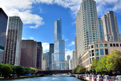 Chicago river view and city buildings. Trump international hotel tower and other buildings around Chicago river, at North Michigan Avenue and the Michigan Avenue Stock Image