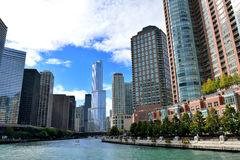 Chicago river view in city downtown. Chicago, Illinois, United States Royalty Free Stock Photography