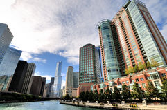 Chicago river. View in city downtown, Chicago, Illinois, United States Stock Photo