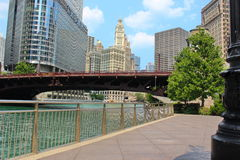 Chicago river view in downtown. View of sky scrappers and river in Chicago downtown Stock Photos