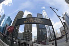 Chicago River Walk Sign in the Summertime royalty free stock photography
