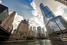 Chicago River Walk with urban skyscrapers, IL, USA Stock Images