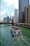 Chicago Riverboat Tour. On the Chicago river ad. Chicago tourism ad, newspaper, magazine pic Stock Photo