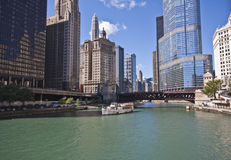 Chicago Riverboat Tour of the City. Pic could be used for Chicago Travel ads or stories stock photo