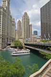 Chicago Riverboat Tours. On the Chicago River off Michigan Avenue Bridge royalty free stock photography
