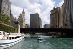 chicago riverboatsikt Arkivbild