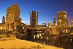 Chicago Riverfront at dawn royalty free stock images