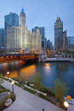 Chicago riverside. Image of the Chicago riverside downtown district during sunset blue hour Stock Photography