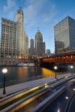 Chicago Riverside. Image of the Chicago riverside downtown district during sunset blue hour Stock Photos