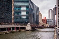Chicago Riverwalk Cityscape Royalty Free Stock Images