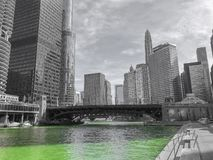 Chicago riverwalk in Saint Patricks Day royalty free stock image