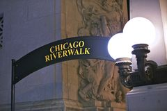 Chicago Riverwalk Sign Stock Image