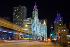 Chicago Rush Hour Traffic. From Lower Wacker Drive towards the Wrigley Building on Michigan Avenue in Illinois, USA Stock Photography