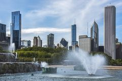 Chicago`s Buckingham Fountain, Millenium Park Stock Photos
