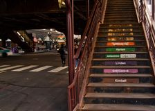 Chicago`s elevated `el` transportation system - stairs leading up to train platform Royalty Free Stock Photo