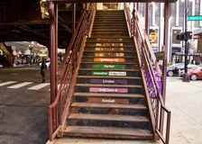 Chicago`s elevated `el` transportation system - stairs leading up to train platform Stock Image