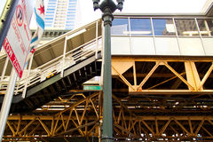 Train Platform at State and Lake for Chicago`s elevated `el` transportation system Royalty Free Stock Image