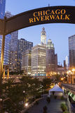 Chicago's famous riverwalk. In the evening stock photo